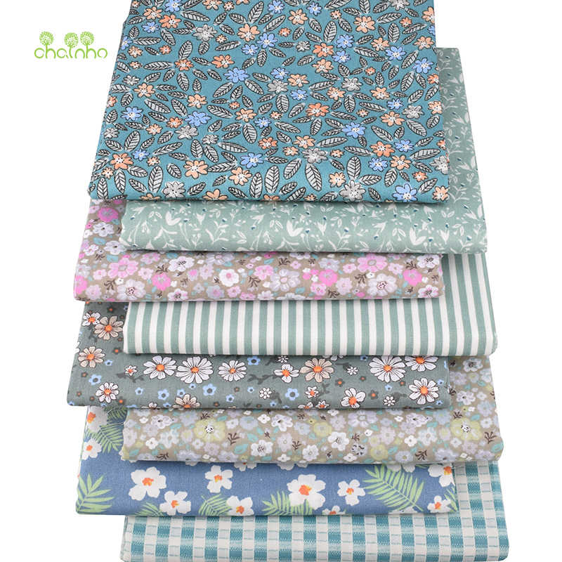 Chainho,Green Floral Series,Printed Twill Cotton Fabric,For DIY Sewing & Quilting,Handicraft For Baby&Children Material CC310