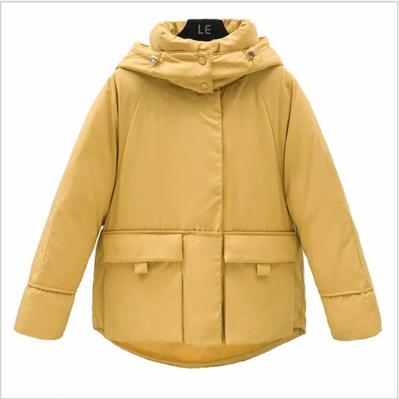 Korean Style Winter Jacket Women Hooded Cotton Padded Oversived Female Winter Coat Outwear Fashion Short Warm   Parka   student R241