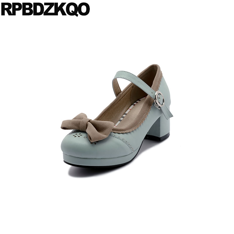 d00847868 Big Size High Heels Sweet Lolita Shoes Mary Jane 33 Medium Round Toe Ladies  Blue Pink Bow Customized Japanese Block Pumps Kawaii-in Women s Pumps from  Shoes ...