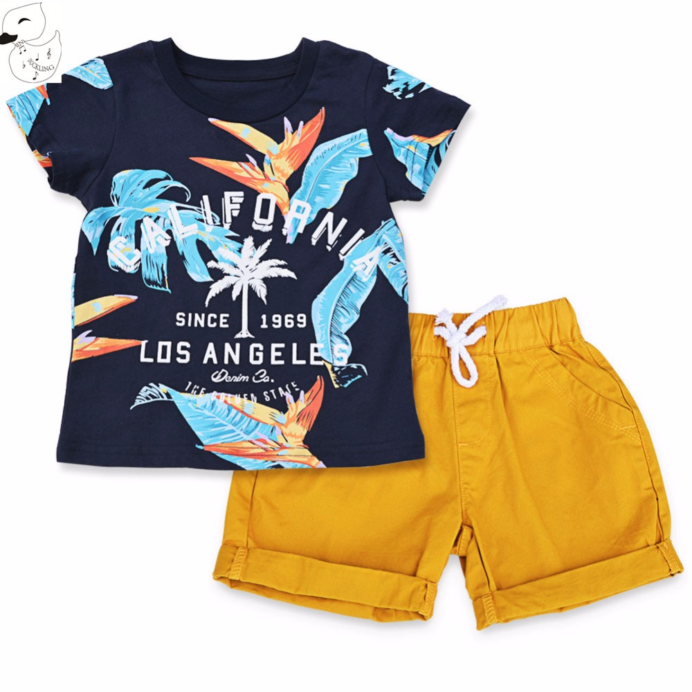 BINIDUCKLING 2017 Baby Boys Sets Summer Boys Sets Clothes T shirt+short Pants cotton sports Letter printed Set Children Suit