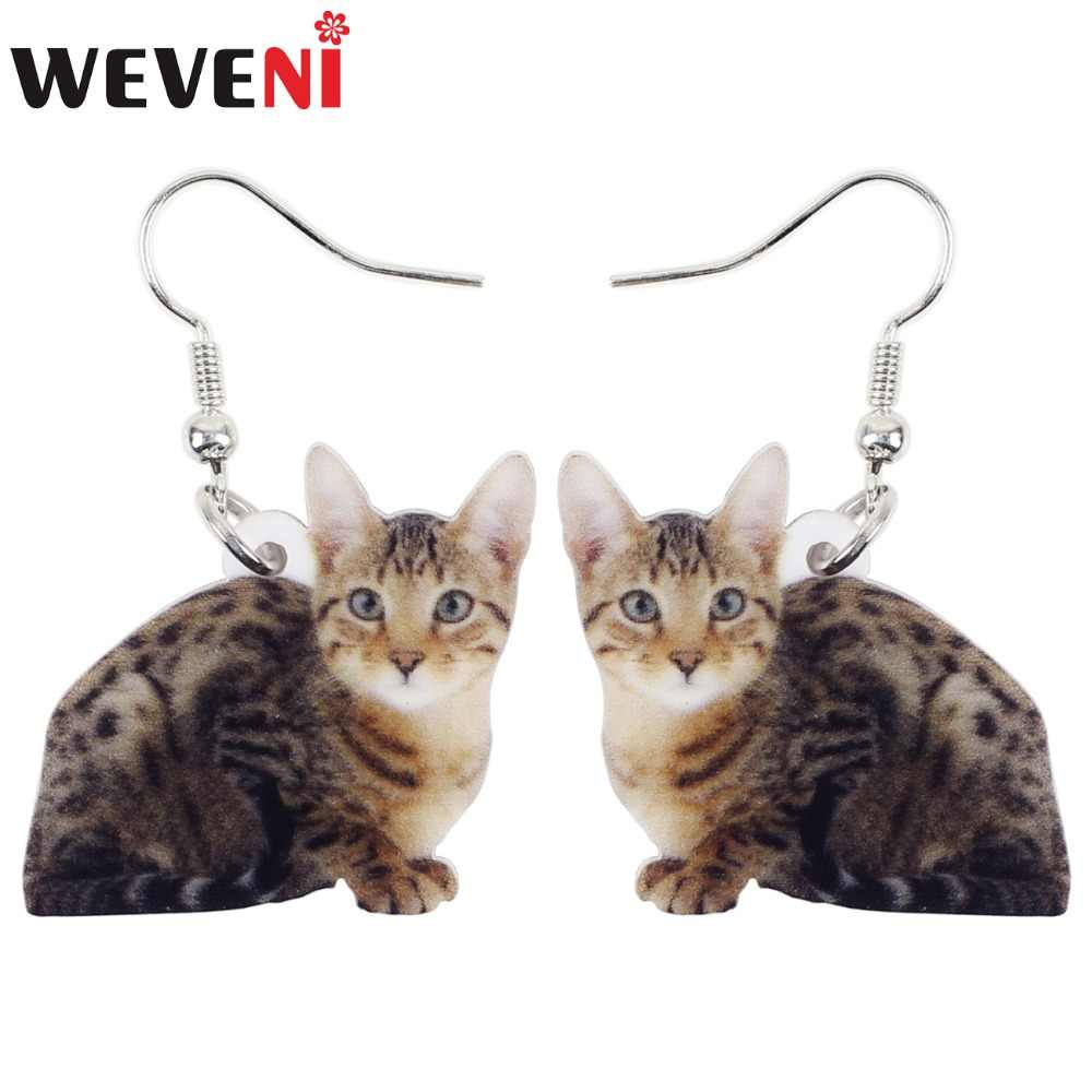 WEVENI Acrylic Sweet Cat Kitten Hot Long Dangle Drop Earrings Cute Animal Jewelry For Girls Women Pet Lovers Charms Dropshipping