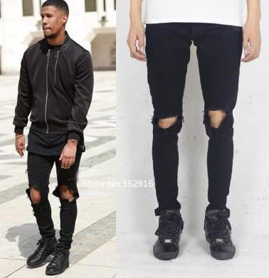 Popular Distressed Ripped Skinny Jeans Men Streetwear-Buy Cheap ...
