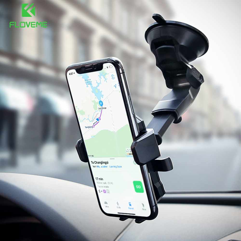 FLOVEME Windshield Phone Holder For Samsung Galaxy S8 Plus 360 Degree Car Phone Holder For iPhone 7 6 6s 8 Plus Car Holder Stand