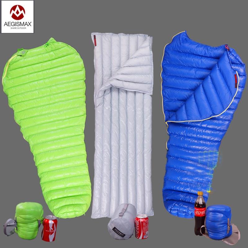 Aegismax acampar al aire libre ultraligero momia 95% 800FP ganso saco de dormir Otoño Invierno primavera tienda de campaña luz peso bolsas de dormir