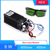 Laser Module Laser Headband 6000mw 6w Blue 450 445nm with TTL Engraver Accessory for CNC laser Carving Engraving Machine