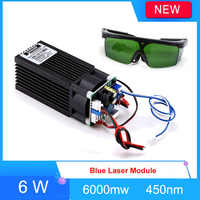 Laser Module Laser Headband 6000mw 6w Blue 450-445nm with TTL Engraver Accessory for CNC laser Carving Engraving Machine