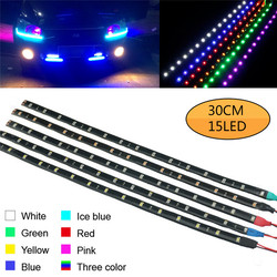 2Pcs 30cm El Wire Waterproof LED Strip Light Motor Glow Light Line Rope Tube Cable Daytime Running Tape Party Car Decoration