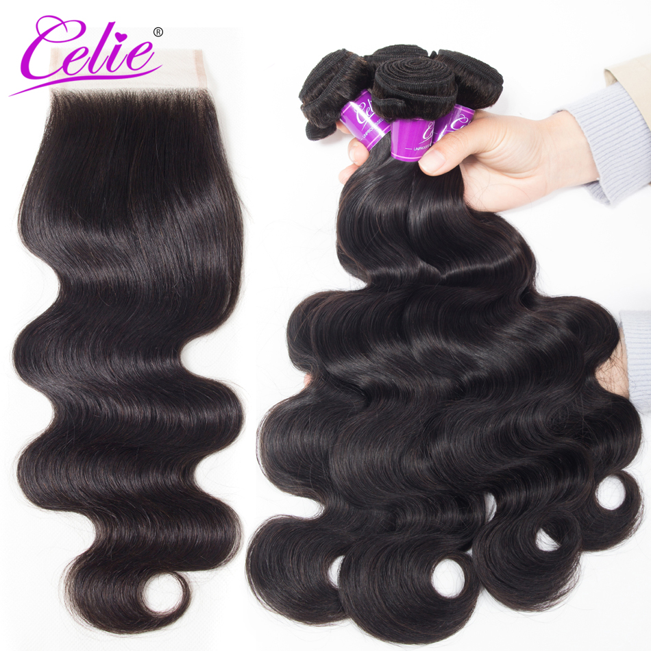 Celie Hair Brazilian Body Wave With Closure Remy Brazilian Body Wave Bundles With Closure 4 Bundles