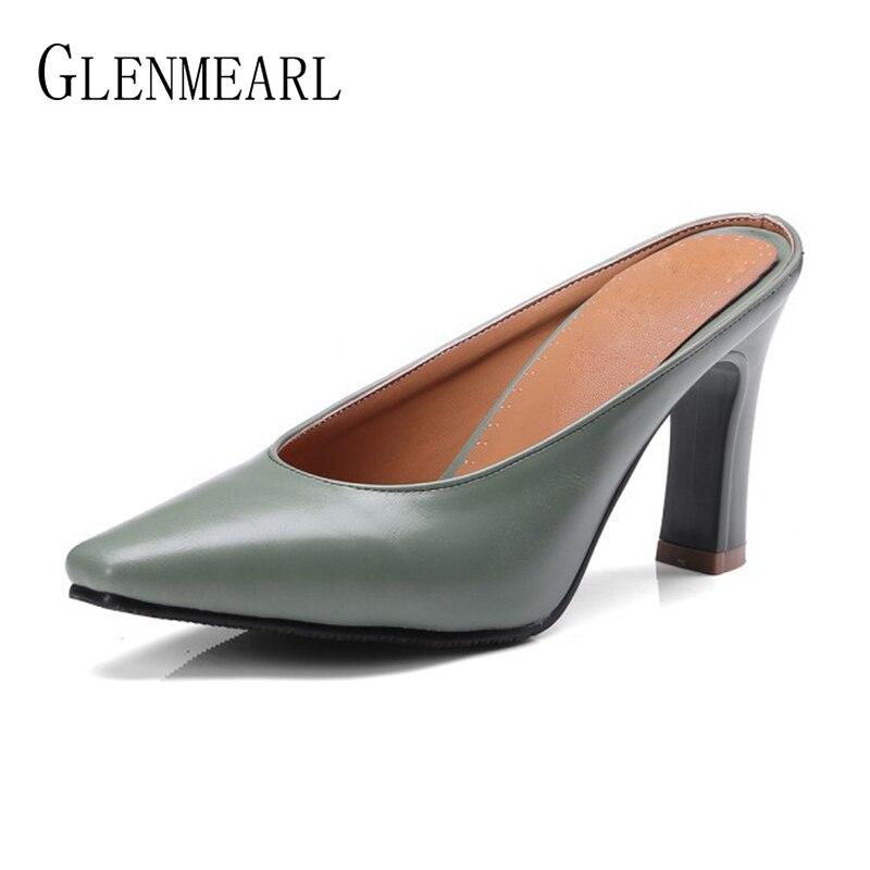 Zapatillas de mujer de cuero Zapatos de tacones altos Mules Zapatos - Zapatos de mujer - foto 2