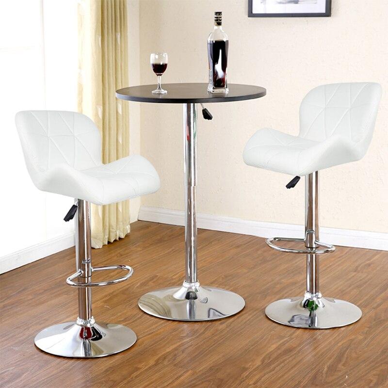 JEOBEST 2 pièces/ensemble loisirs cuir synthétique pivotant tabourets de Bar chaises hauteur réglable pneumatique chaise de Pub blanc HWC