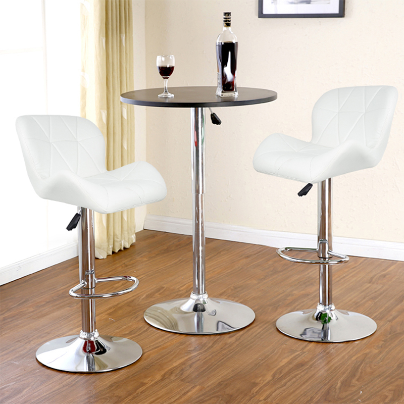 JEOBEST 2pcs Leisure Synthetic Leather Swivel Bar Stools Chairs Height Adjustable Pneumatic Pub Chair White