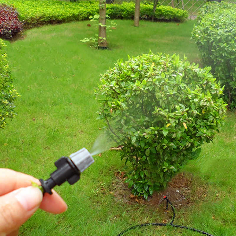 Szary ogród dysza mgielna ciśnienia opryskiwacz nawadniania kropelkowego z 4/7mm trójniki złącze podlewanie zraszacze mgły 200 sztuk