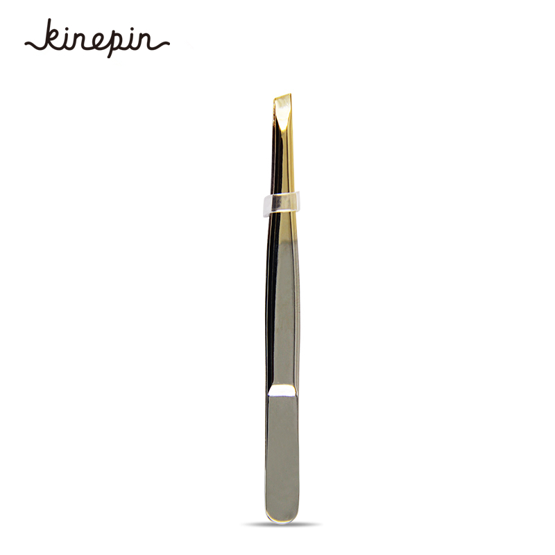 1PC Eyebrow Tweezer Pro 24K Gold Stainless Steel Slant Tip Eyes Tweezer Clip For Face Hair Removal Make Up Tools