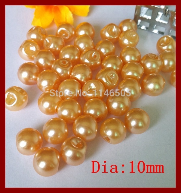b2ca8e730f121 120pcs 10mm Side hole plastic imitation pearls button Orange pearls sewing  buttons for craft clothing accessories wholesale