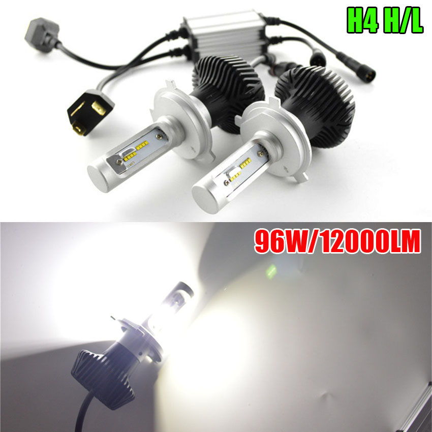96W Automobile LED Headlight 9005 HB3 9006 HB4 LED Bulb Kit 9000lm 6000K H4 Hi Low H7 LED Car Lamps DRL Light Source tc x upgrade led car headlight bulb kit h7 80w set h4 hi lo head lamp fog light kit h11 hb3 hb4 led auto front bulbs wholesale
