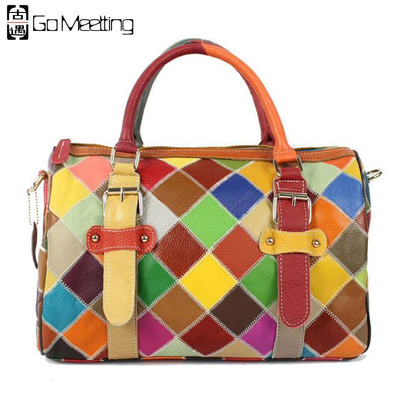 Go Meetting Patchwork Genuine Leather Women Handbags Cowhide Shoulder Bags Colorful Color Women Cross Body Messenger Bags 2017 new female genuine leather handbags first layer of cowhide fashion simple women shoulder messenger bags bucket bags