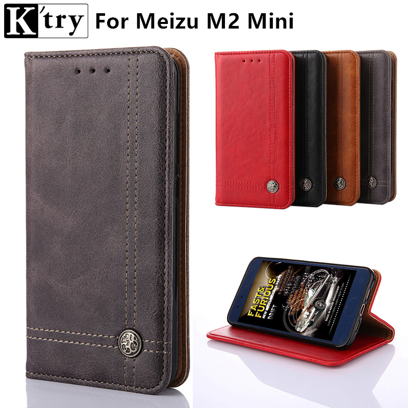 K'try Case for Meizu M2 Mini Case Vintage Pu leather With Silicone Cover Case for coque Meizu M2 mini 5.0inch Fundas