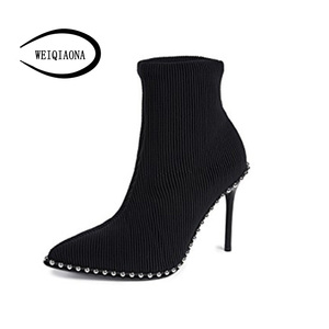 Image 1 - SHUNRUYAN 2018  Brand Design Vintage Rivet Women Shoes Winter Shoes Short Boots High Heels Pointed Toe Party Shoes Ladies Shoes
