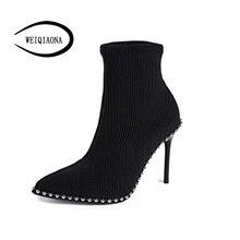 SHUNRUYAN 2018 marque Design Vintage Rivet femmes chaussures chaussures dhiver bottes courtes talons hauts bout pointu chaussures de fête dames chaussures