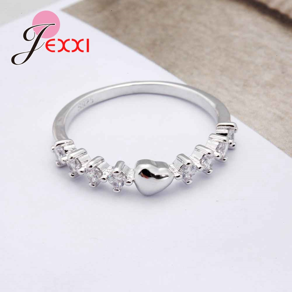 JEXXI Luxury Promise Rings with Clear Heart Crystal Full White Cubic Zirconia 925 Sterling Silver Rings For Women Jewelry