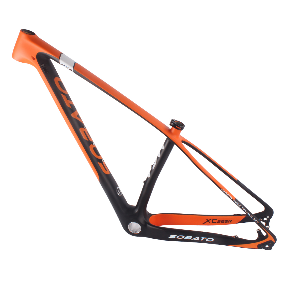 2016 SOBATO FREE SHIPPING Carbon MTB frame 29er Di2 carbon frame 142x12 thru axle MTB frame compatible ems carbon MTB frame 2017 new cheap carbon frame t800 3k full carbon mtb frame 29er for thru axle carbon mountain bikes frame 29 free shipping