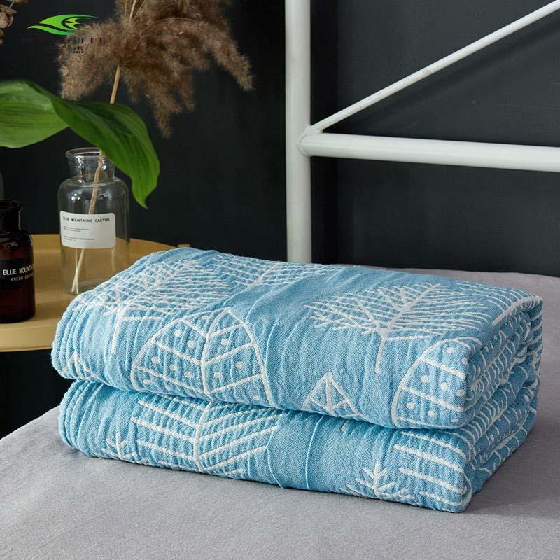 3 couches lavage gaze série coton super doux gris bleu mûrier feuille climatiseur enfant adulte jeter couverture sur le lit 200*230