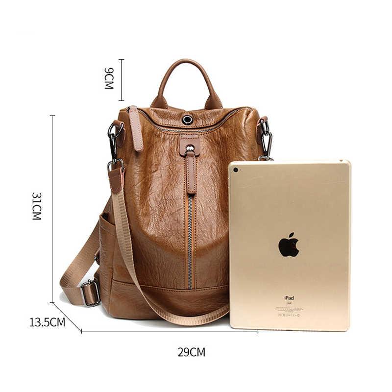 Mochila femenina 2019 mochila femenina casual multifunción para mujer mochila de cuero bolso de hombro para mujer bolsa de viaje A Dos