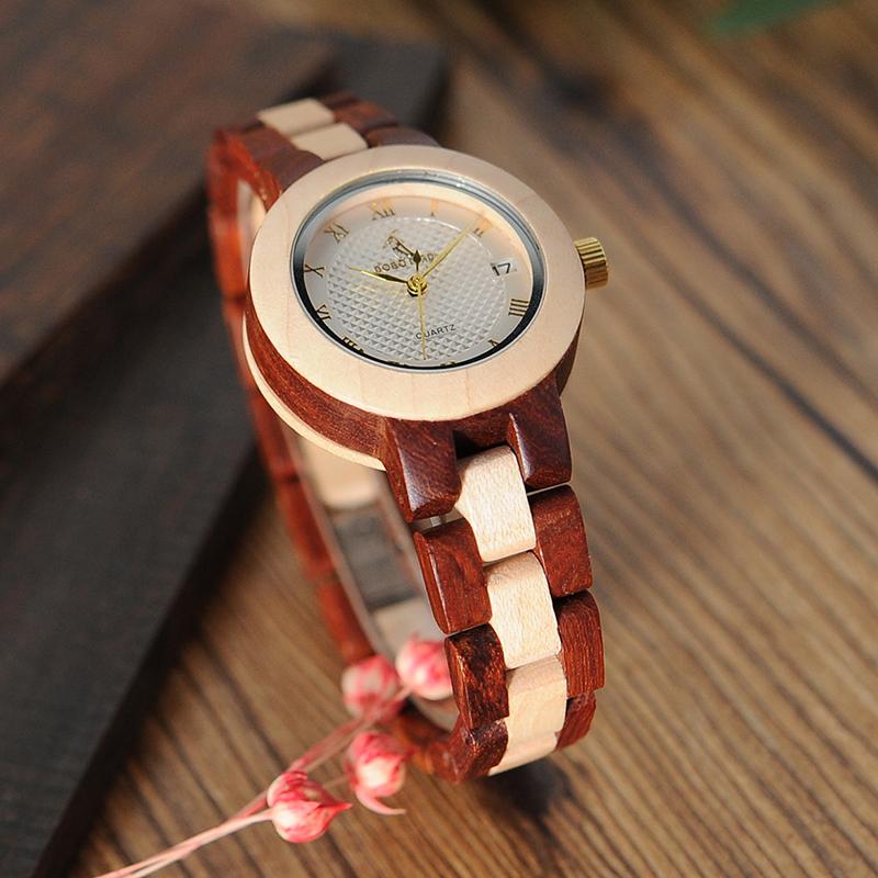 BOBO BIRD Rose SandalWood Elegant Minimal Wooden Watch For Women 10