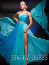 free shipping 2013 blue vestidos formales chiffon maxi dresses One-shoulder long design sexy brides maid party