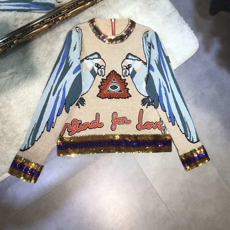 2018 Femmes De Automne Manches Impression Hiver Sequin Tricoté Décoration Sweat Animaux Seifrmann Luxueux À Longues Chandail axpHUHw