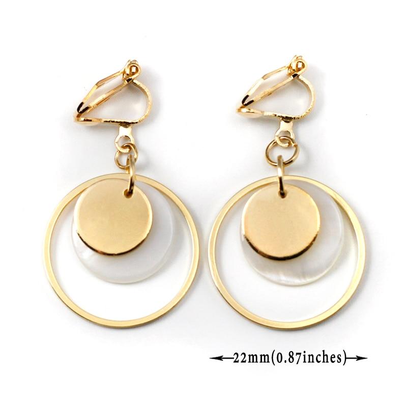 Metal Shell Round Earrings Non Pierced Natural Shell Geometric Clip On Earrings Without Piercing Women Minimalist Earring CE153