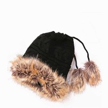 2017 Fashion Autumn Winter Wool Knitted Hat For Women With Pom Pom Keep Warm Thicken Rabbit Hair Blend Casual Skullies Beanies