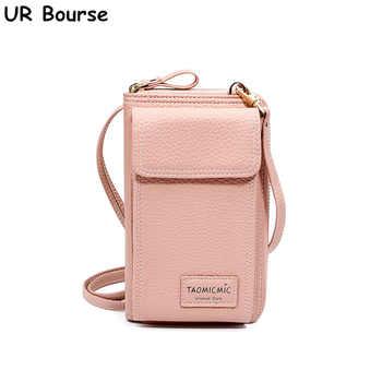 UR BOURSE Women Cell Phone Bag Ladies Large Capacity Mobile Wallet Female Zipper Shoulder Crossbody Bag Phone Bag Coin Purse