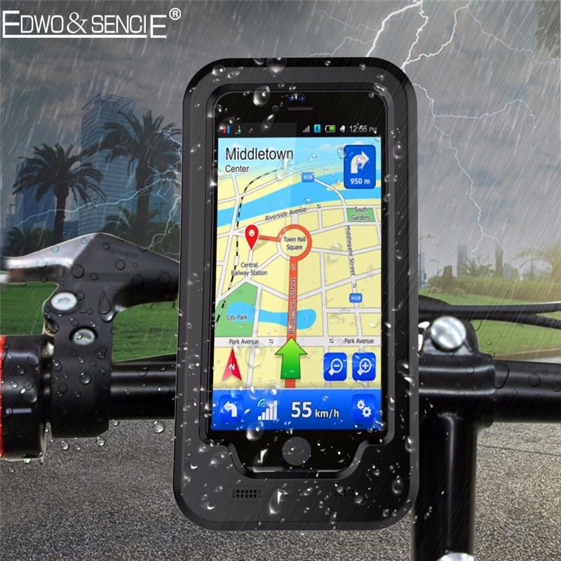 EDWO Waterproof Bumper Case For <font><b>iphone</b></font> 6s 7 plus 5s SE Bicycle Bike Motorcycle Handlebar Armor Mount Bracket Holde Phone Cover
