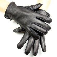 Guantes de piel de ciervo para hombre, forro de lana delgada, costura exterior, estilo de otoño, guantes de cuero, forro de terciopelo coralino grueso, invierno cálido