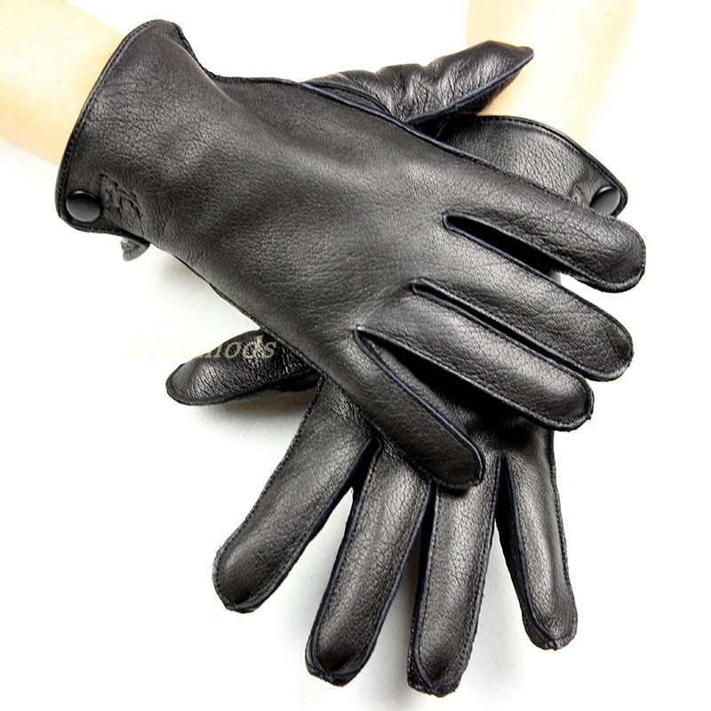 Men's Deerskin Gloves Thin Wool Lining Outside Seam Autumn Style Leather Gloves Men Thick Coral Velvet Lining Warm Winter