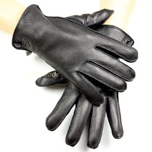Mens deerskin gloves thin wool lining outside seam autumn style leather gloves men thick coral velvet lining warm winter
