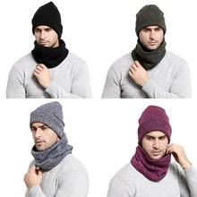 Winter Men Hat Scarf Set