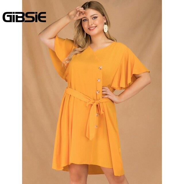 GIBSIE Plus Size Elegant V-Neck Butterfly Sleeve Button Dress Women 2019 Summer Boho Casual Belted Solid Midi Dress Vestidos 3