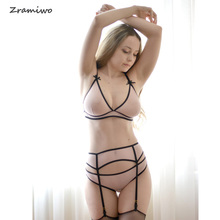 Mesh Bra Set with Garter Belt Sexy Lingerie Soft Cup Bralette Crotchless Panty See Through Sleepwear for Women