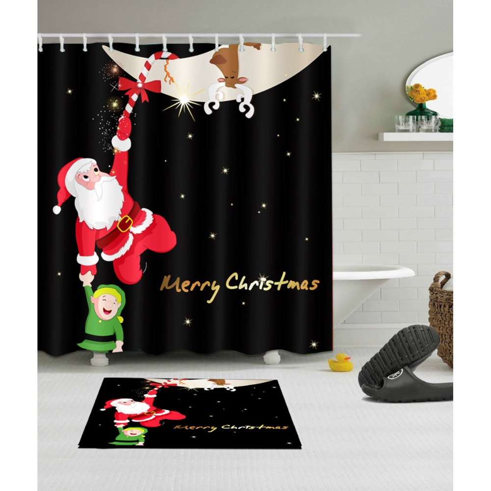Christmas Bathroom Curtains.Us 8 48 35 Off Lb Funny Santa Claus Kid Black Christmas Shower Curtains And Mat Washable Polyester Bathroom Curtain Fabric For Bathtub Decor In