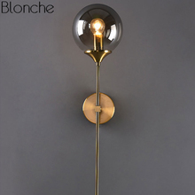 Modern Glass Wall Lamp Gold Led Wall Light Fixtures for Bedroom Bathroom Mirror Nordic Home Decor Lights Indoor Luminaire E14 цена
