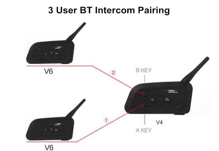 1PCS V4+2 Pcs V6 Motorcycle Helmet Bluetooth Intercom System BT Stereo Interphone Handsfree Headset for 3 Riders Group Chat (14)