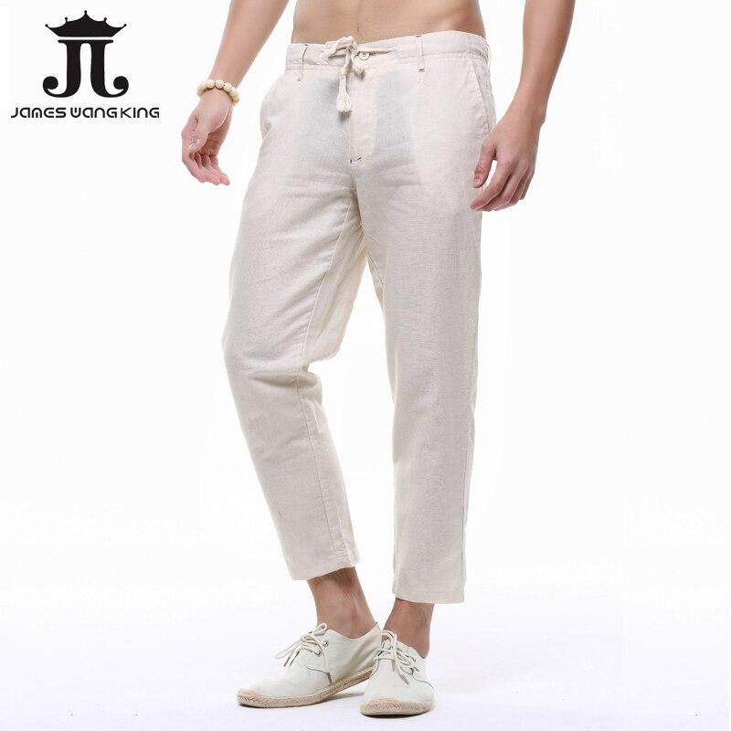 Etoanhoc Comprar Pantalones De Lino Hombres Tobillo Verano Delgado Casual Sueltos Harlan 4 Color Tamano S 3xl Online Baratos
