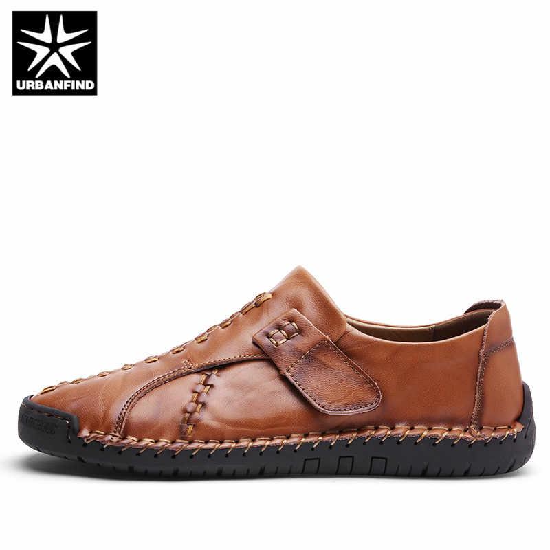 URBANFIND Luxe Ontwerp Nieuwe Echt Leer Instappers Mannen Mocassin Slip Op Sneakers Platte Causale Mannen Schoenen Volwassen Mannelijke Bootschoenen