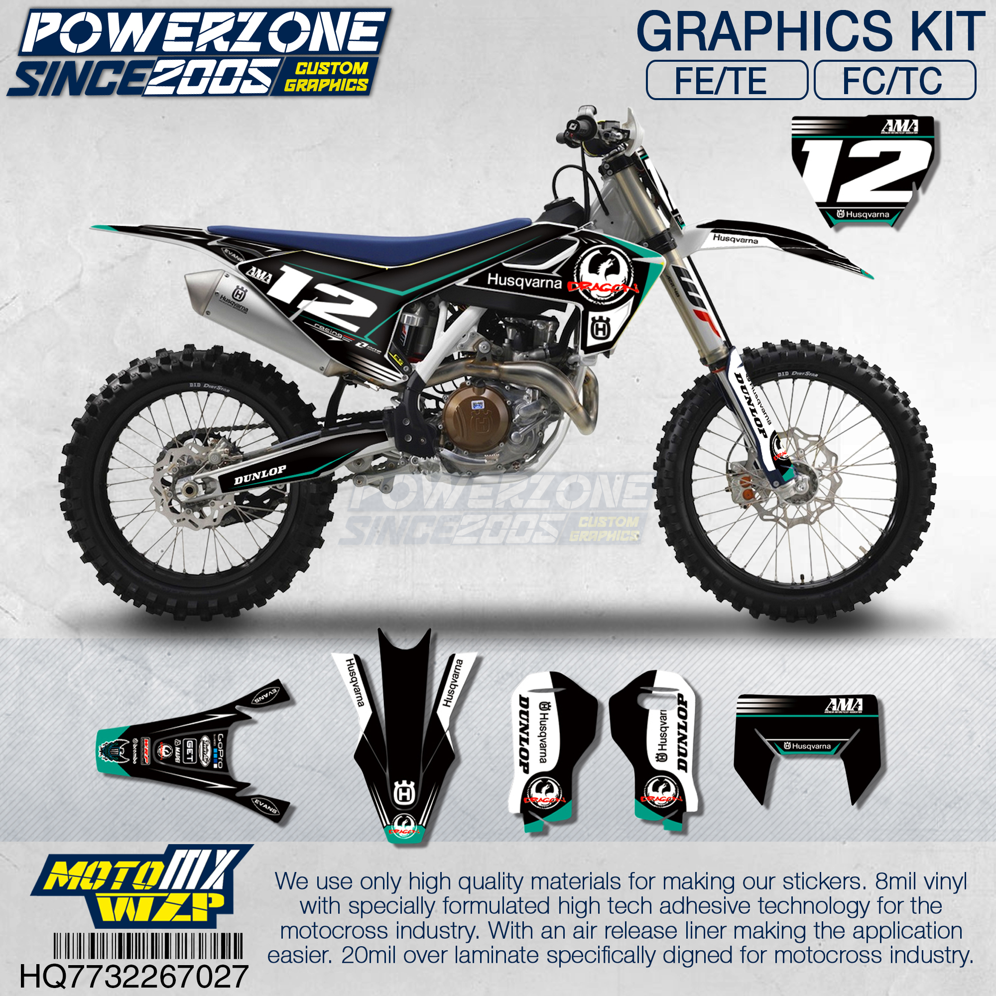 Customized Team Graphics Backgrounds Decals Custom Stickers Kit For Husqvarna 2014 15 16 17 18 FE
