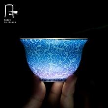 Antiken Handgefertigten Teetasse Allmähliche Veränderung Chinesischen Handgraved Jingdezhen Porzellan Teetasse Keramik kung fu Drink Goldlack