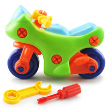 Baby toys Early Education DIY Screw Nut Group Installed Plastic 3D Puzzle Disassembly Motorcycle Kids Toys for Children Jigsaw(China)