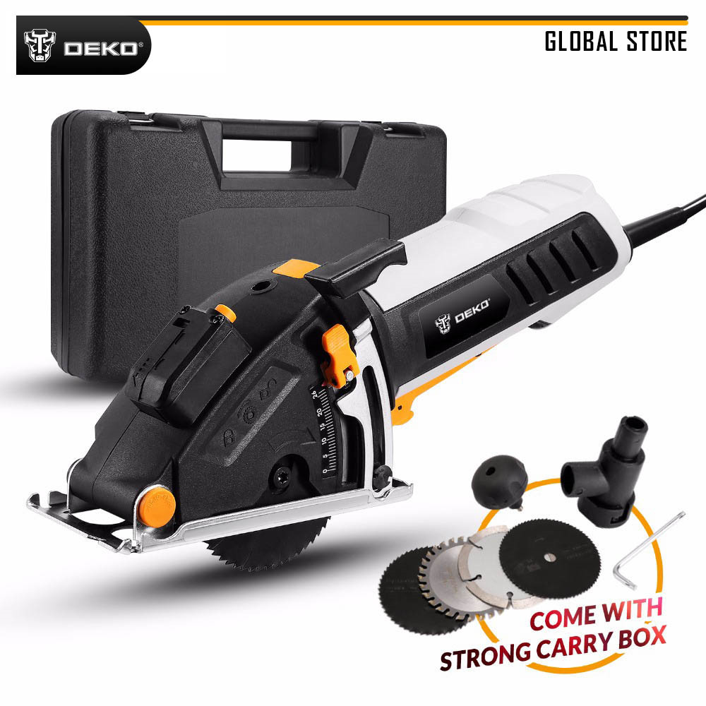 DEKO DKMS85Q1 230V Mini Circular Saw Laser Guide Power Tool With 4 Pieces Blades, Dust Passage, Allen Key, BMC Box Electric Saw
