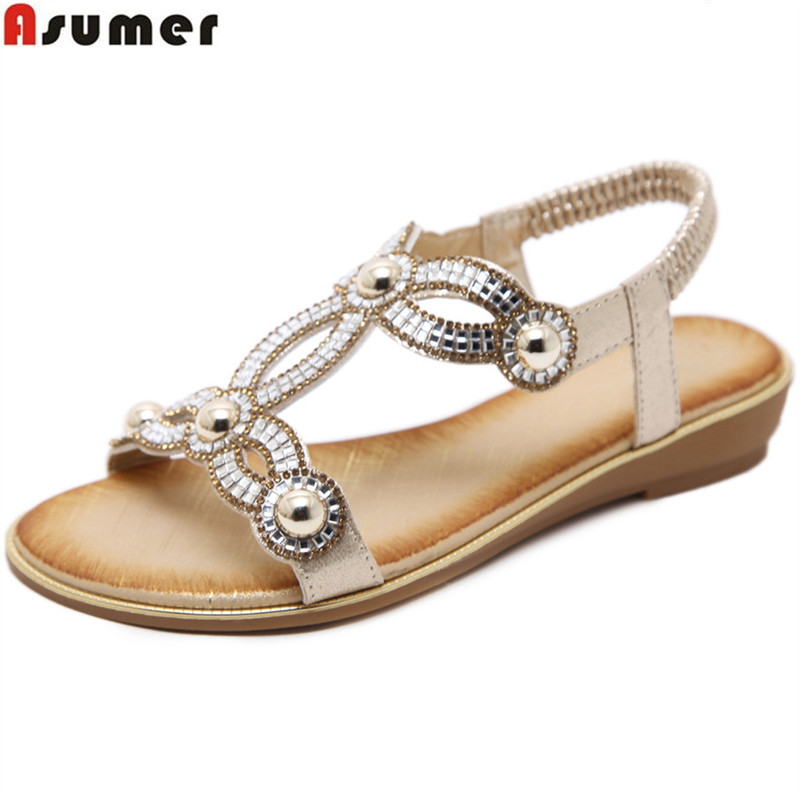 цены ASUMER 2018 fashion summer shoes woman black pink sandals women crystal casual comfortable sandals women big size 35-42